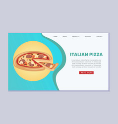 italian pizza fresh and hot delivery pizzeria web vector image