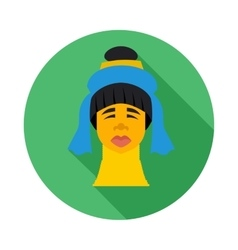 Karen long neck woman with traditional coils icon vector