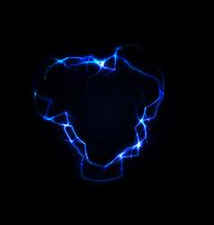 lightning round frame blue plasma magical portal vector image