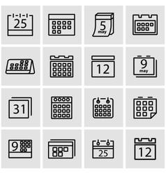 line calendar icon set vector image