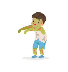 Little boy dressed as a zombie cute kid in vector