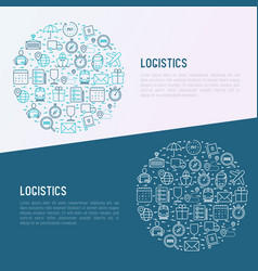 logistics concept in circle with thin line icons vector image