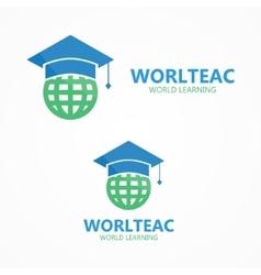 logo combination a graduation cap and vector image