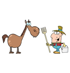 male farmer with horse vector image