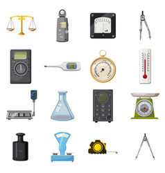 measure precision tools icons set cartoon style vector image