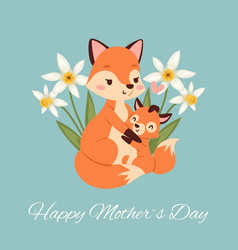 mothers day with fox and its bafox card vector image