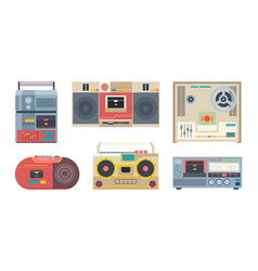 music recorders retro 80s portable audio players vector image