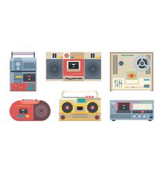 music recorders retro 80s portable audio players vector image
