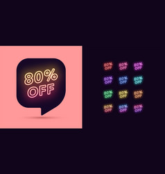neon discount tag 80 percentage off offer sale vector image
