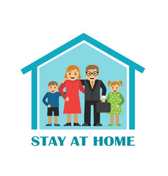 quarantine and lovely family stay home vector image