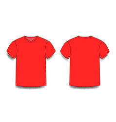 Red male t-shirt template v-neck front and back vector