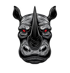 rhino head design element for poster card logo vector image