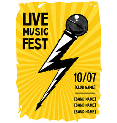 Rock poster with microphone and lightning grunge vector
