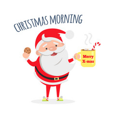 santa claus with cup of coffee and tasty biscuit vector image