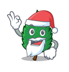 Santa mint leaves mascot cartoon vector