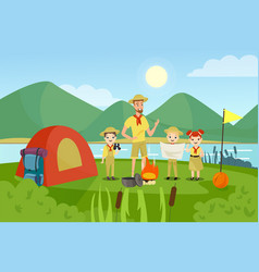 Scouts with teacher flat vector