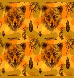Seamless pattern sketching bear vector