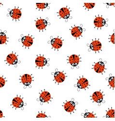 seamless pattern with cartoon ladybug on white vector image