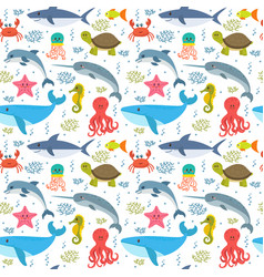 Seamless pattern with cartoon sea life animals vector