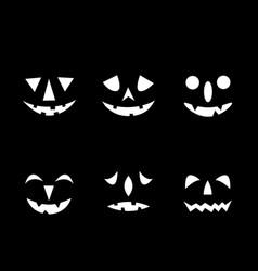 Set jack-o-lanterns happy halloween icons vector