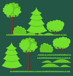 set of flat trees and vector image vector image