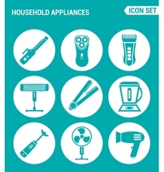 set of round icons white Household Appliances vector image