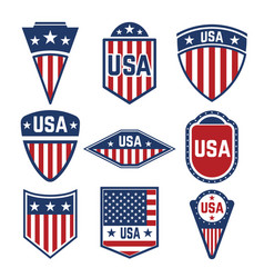 set usa labels emblems with american flags vector image