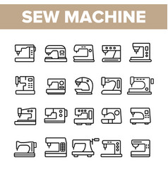 Sewing machines tailor equipment linear vector