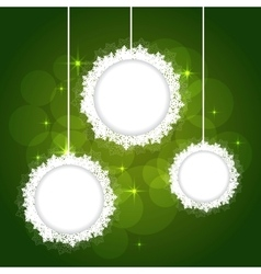 snowflakes frame on green backgournd vector image