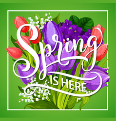 Spring is here greeting poster with flower bouquet vector