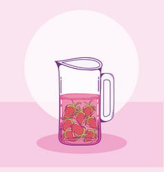 strawberry mason jar vector image