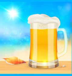 Summer mug of fresh beer on seascape background vector