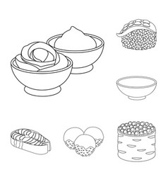 Sushi and seasoning outline icons in set vector