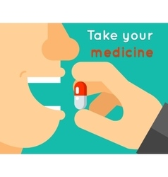 Take your medicine concept person puts tablet vector