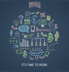 Time to work hand drawn icons vector