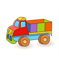 Toy truck flash card kids wall art first word vector