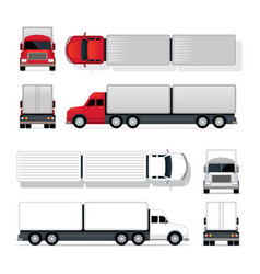 Trailer truck red and white vector