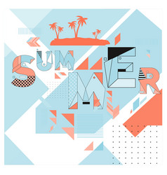 Trendy summer cards with memphis style typography vector