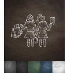 Two girls with shopping bags icon Hand drawn vector