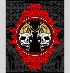 two skull king vector image