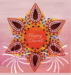 watercolor diwali background vector image