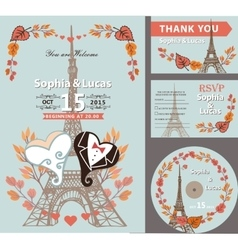 Wedding invitation setautumn leaveseiffel tower vector