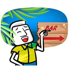 White man cartoon go to bar vector