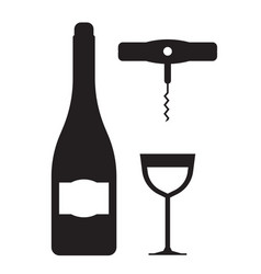 wine bottle glass and corkscrew icons vector image