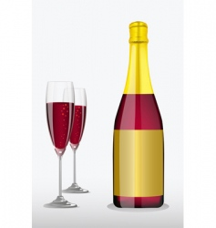 wine glass with bottle vector image