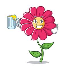 With juice pink flower character cartoon vector