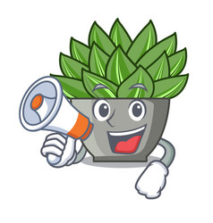 With megaphone character cartoon pot plant vector