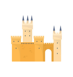 yellow sunny medieval castle for knight old king vector image