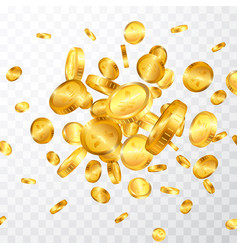 yen gold coins explosion isolated on transparent vector image