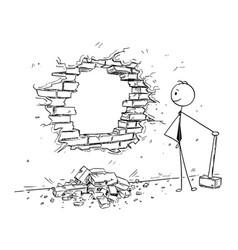 conceptual cartoon of businessman breaking a wall vector image